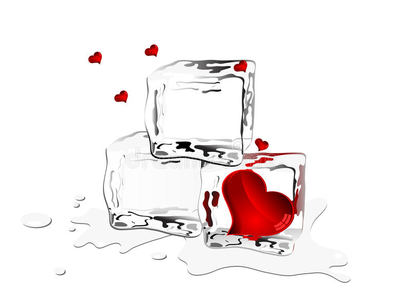 Corações congelados ilustração do vetor