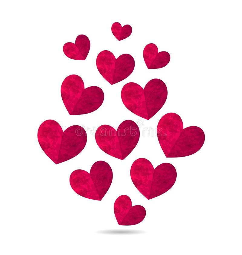 Corações cor-de-rosa do grunge isolados no fundo branco para os Valentim D ilustração stock