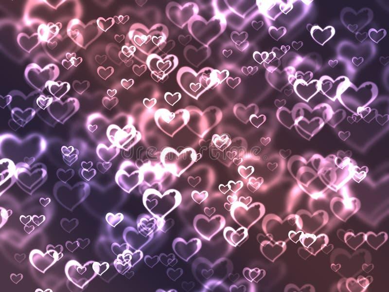 Corações cor-de-rosa e roxos ilustração do vetor