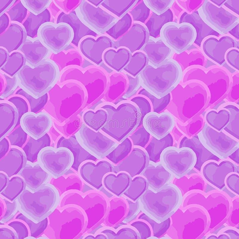 Corações cor-de-rosa e roxos bonitos em um teste padrão de repetição ilustração stock