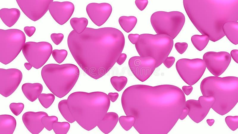 Corações cor-de-rosa no fundo branco ilustração stock
