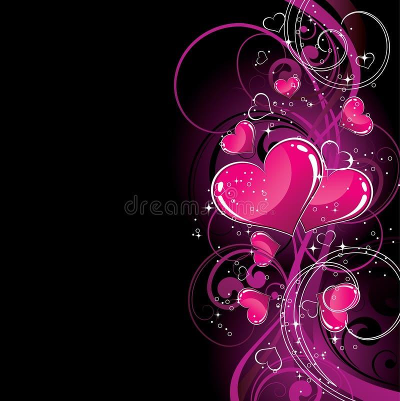 Corações cor-de-rosa no preto ilustração stock