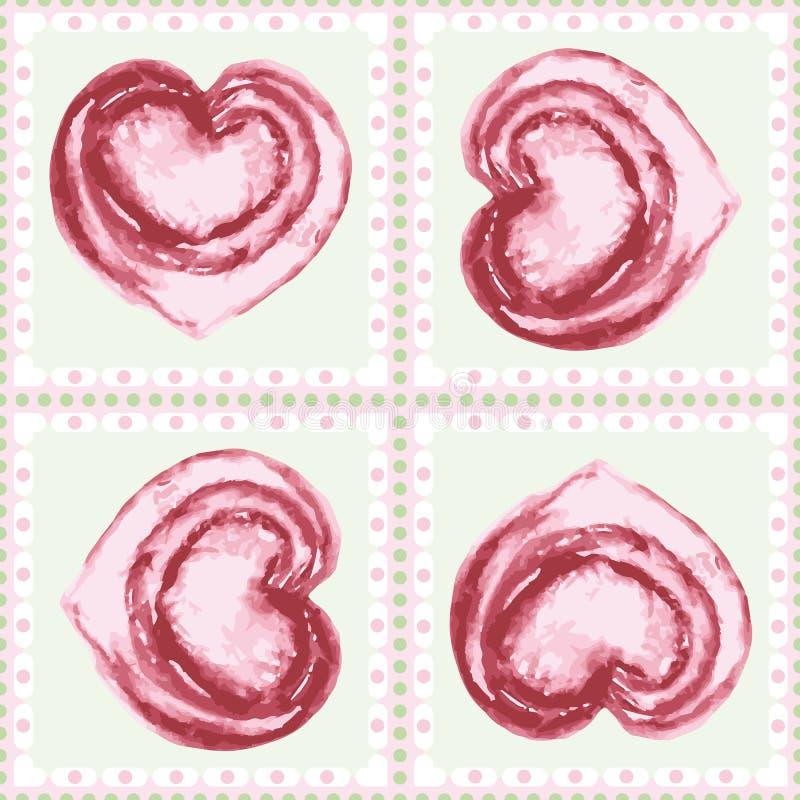 Corações cor-de-rosa pintados à mão do watercolour do vintage no teste padrão geométrico sem emenda quadro do vetor dos quadrados ilustração royalty free