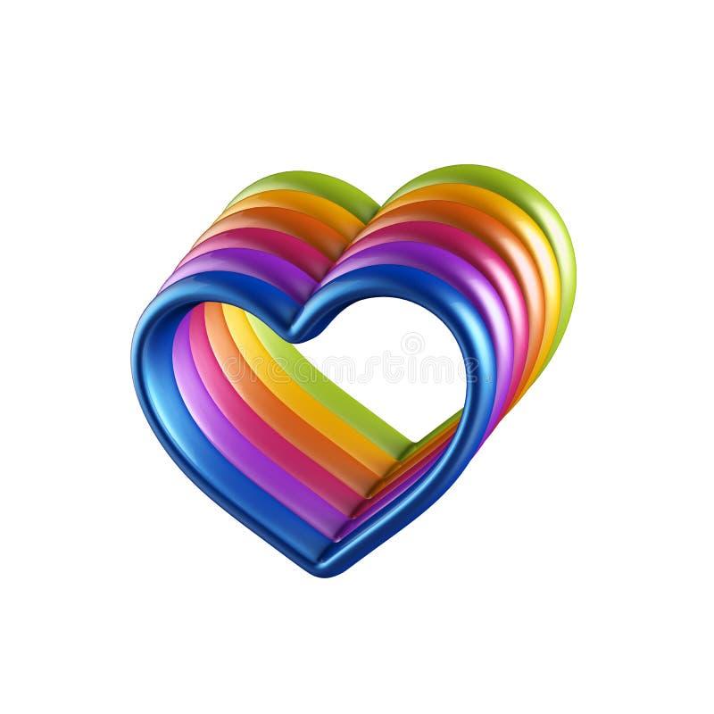 corações 3d coloridos combinados junto ilustração do vetor