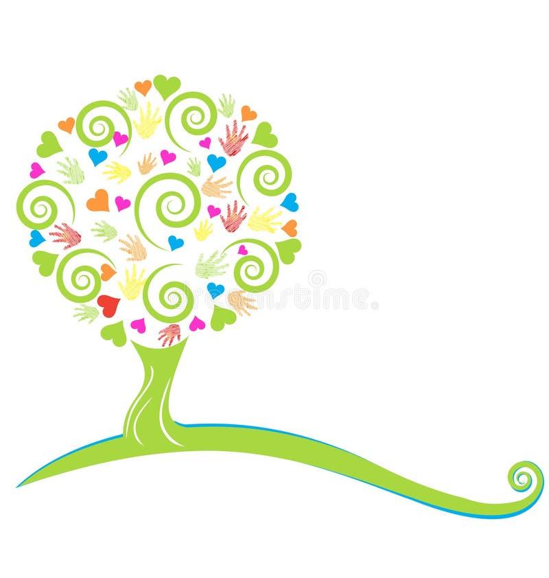 Corações da árvore e mãos pintadas ilustração royalty free