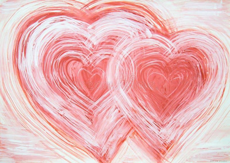 Corações da abstração dois pintados com cores vermelhas brancas ilustração do vetor