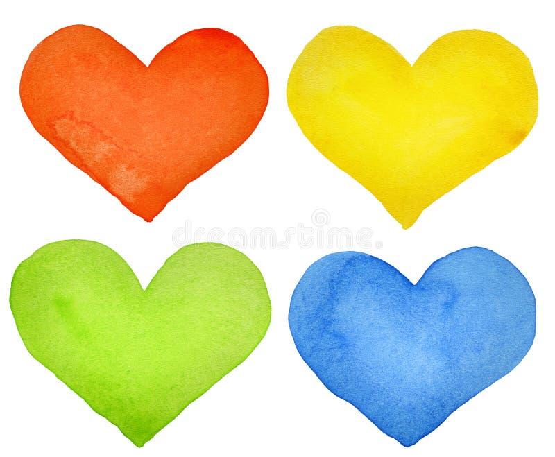 Corações da aguarela ilustração stock
