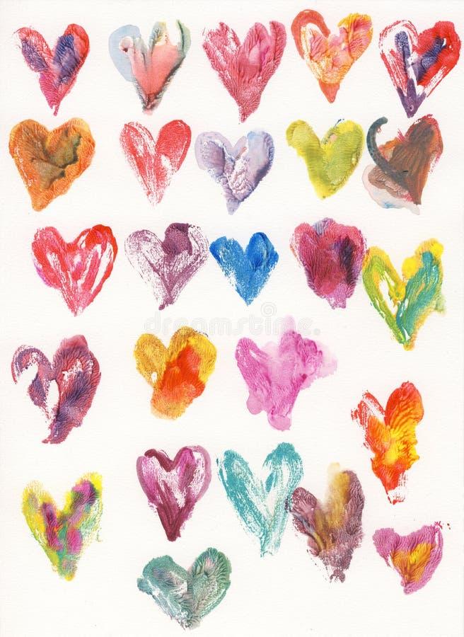 Corações da aguarela ilustração do vetor