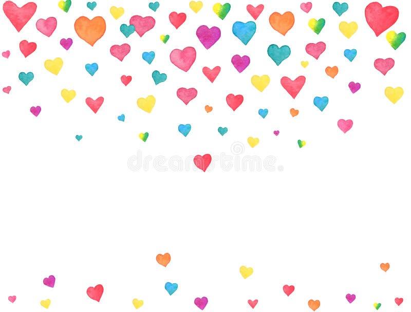 Corações da aquarela que caem no fundo branco Confetes coloridos do coração do arco-íris Projeto da aquarela do dia de Valentim ilustração do vetor