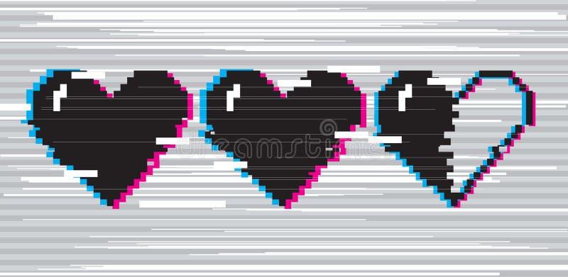 Corações da arte do pixel para o jogo ilustração royalty free