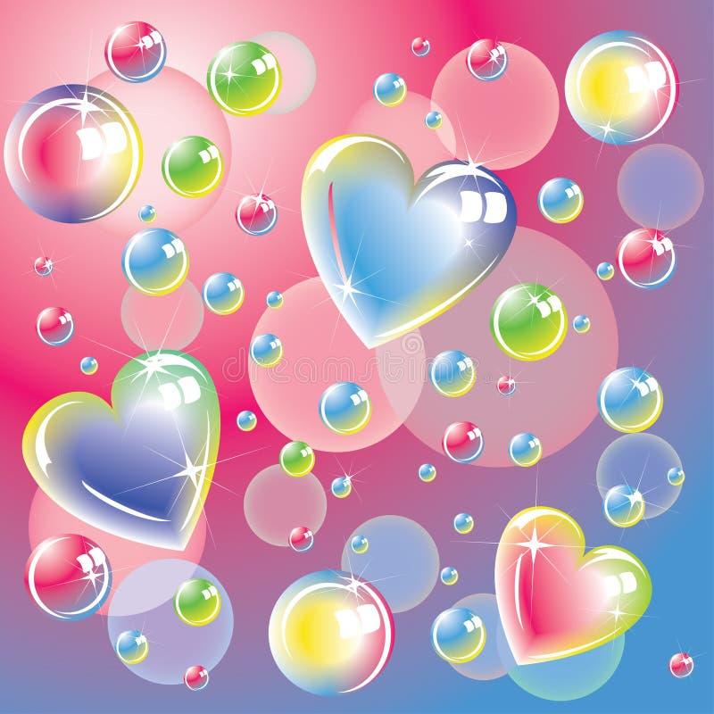 Corações da cor e bolhas de sabão brilhantes ilustração do vetor