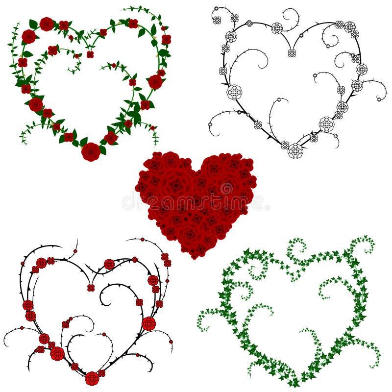 Corações da flor e da videira ilustração stock