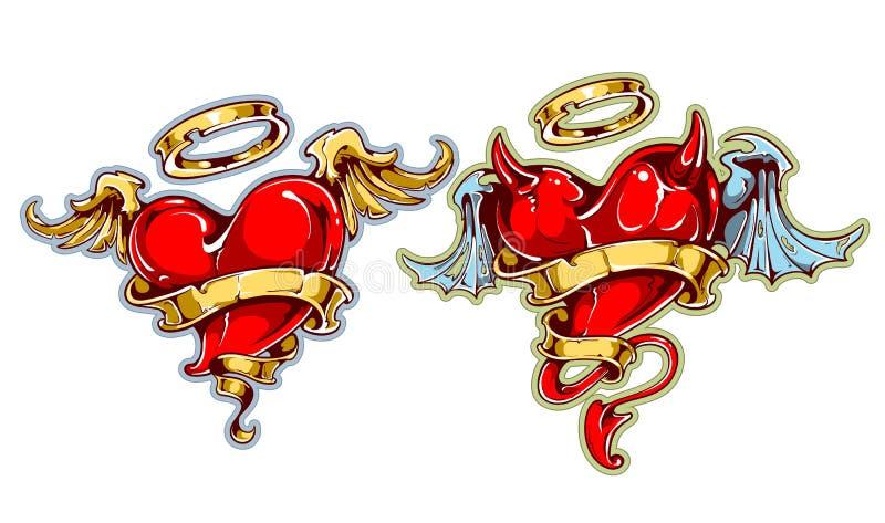 Corações da tatuagem ilustração royalty free