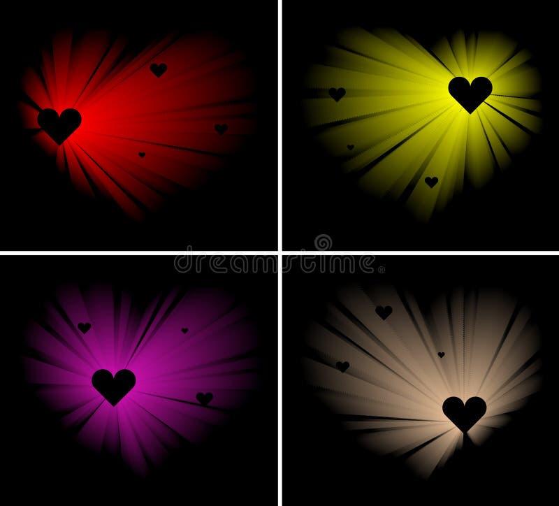 Corações de brilho ilustração do vetor