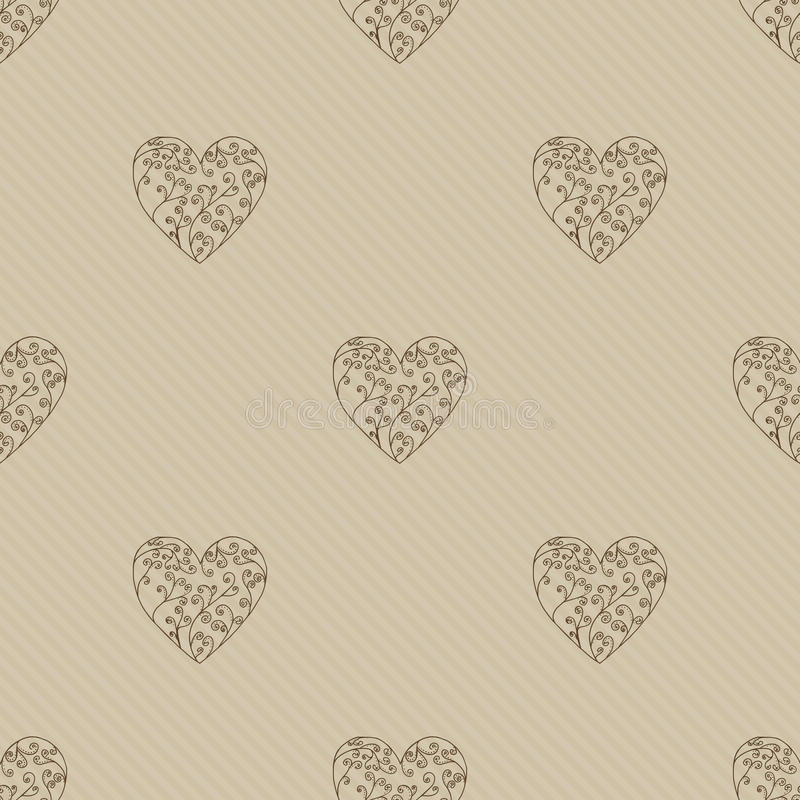 Corações de Brown Fundo sem emenda dos corações do teste padrão Vetor laçado do coração ilustração royalty free