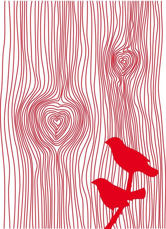 Corações de madeira da grão,   ilustração stock