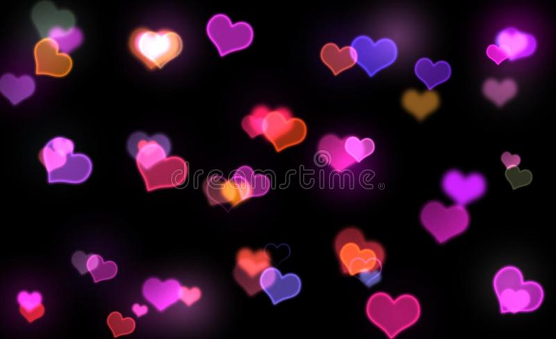 Corações de néon foto de stock