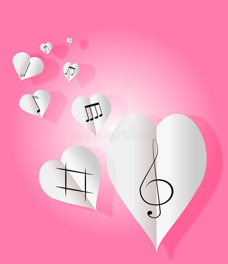 Corações de papel com notas da música ilustração royalty free