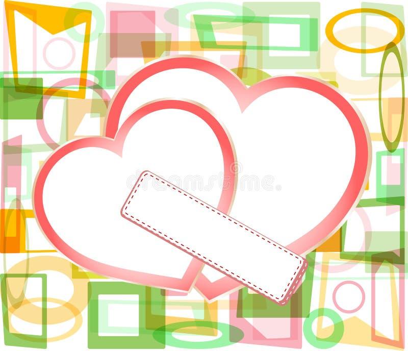 Corações de papel do Valentim com cartão em branco ilustração stock