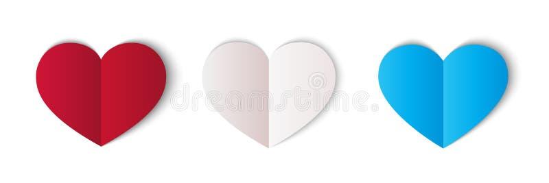 Corações de papel vermelhos, brancos e azuis isolados no fundo branco ?cone do cora??o S?mbolo do amor Elemento do projeto do vet ilustração do vetor
