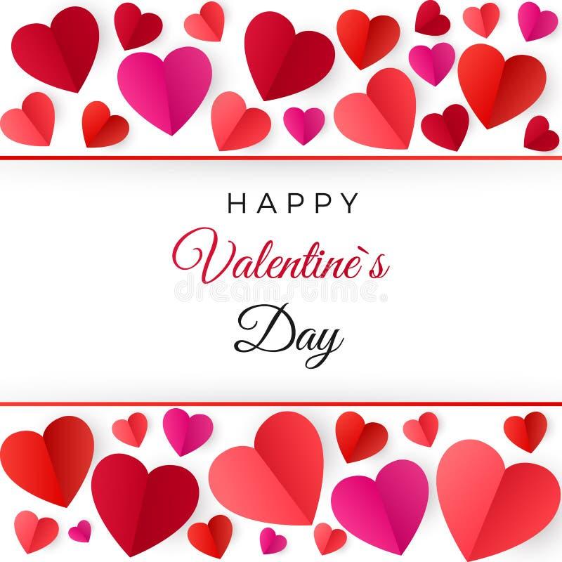 Corações de papel vermelhos coloridos Cartão feliz do dia dos Valentim Ilustração do vetor isolada no branco ilustração royalty free