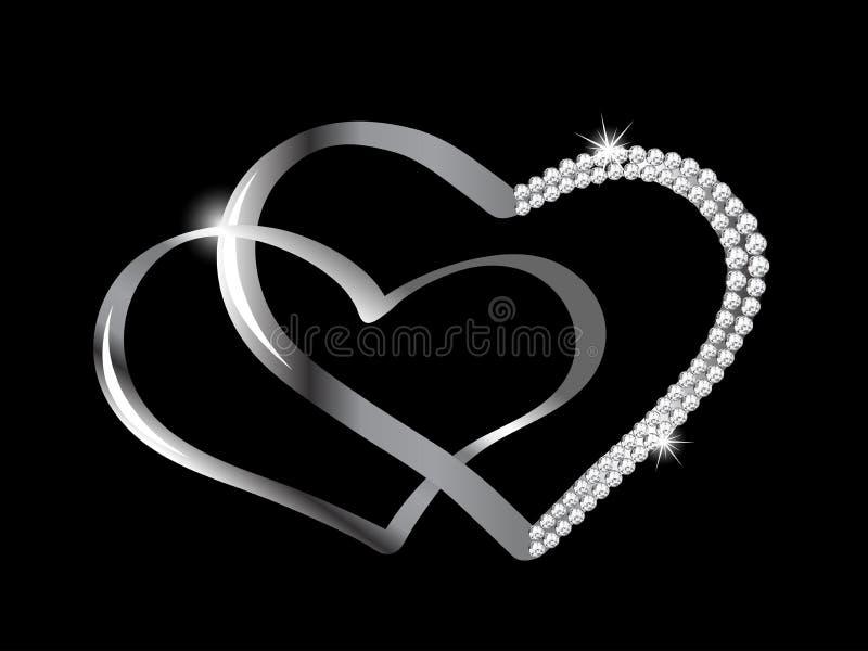 Corações de prata ilustração royalty free