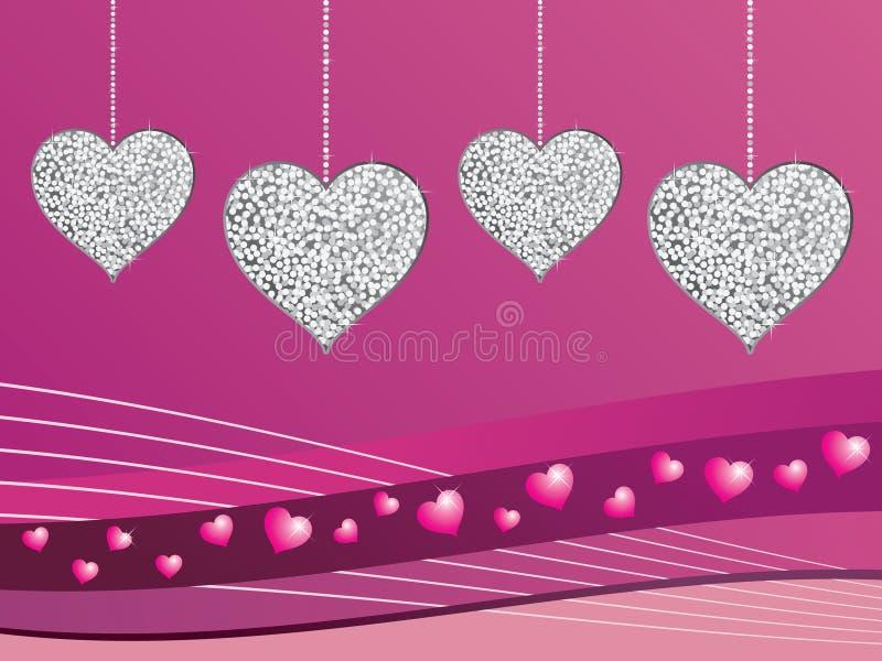 Corações de prata do amor do glitter ilustração stock