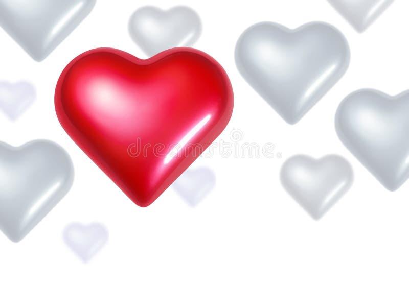 Corações de queda ilustração do vetor