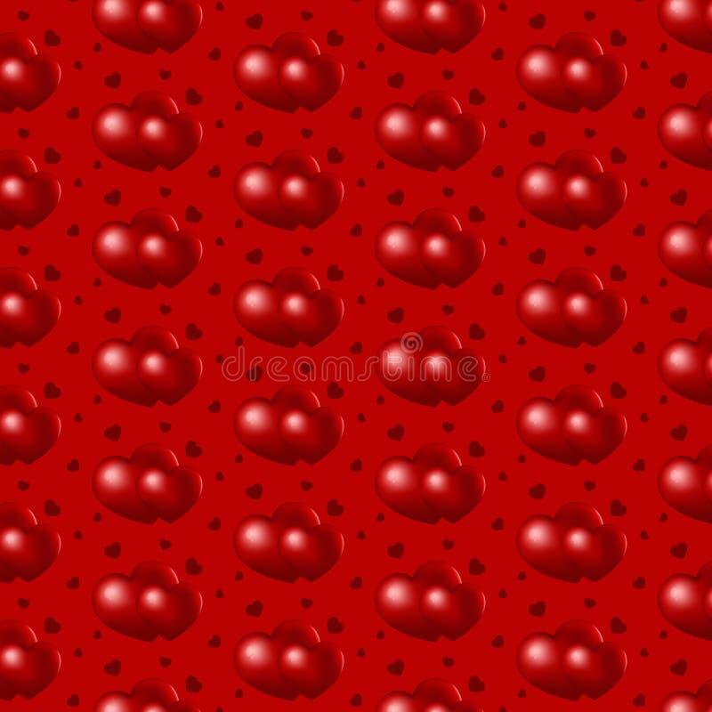 Corações de repetição vermelhos no fundo vermelho, testes padrões sem emenda ilustração royalty free
