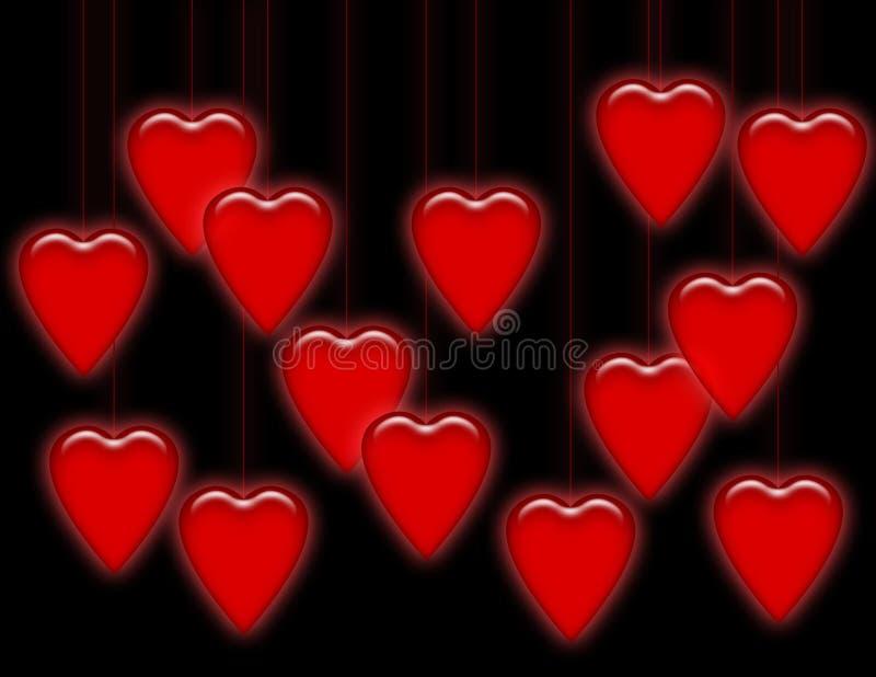 Corações de suspensão no preto ilustração stock
