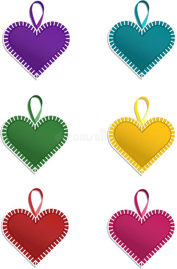 Corações de Varicolour ilustração stock