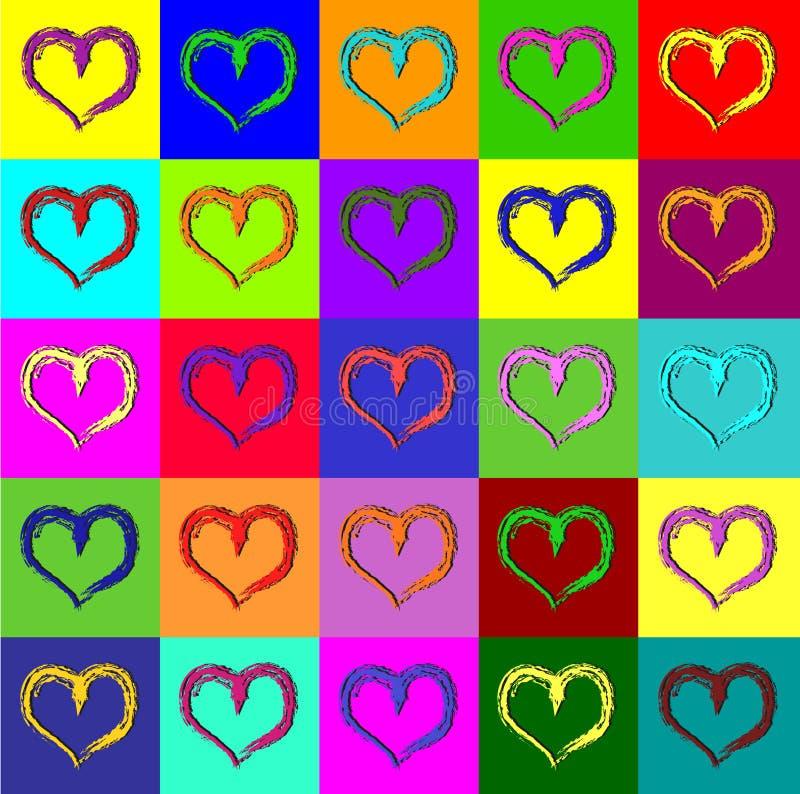 Corações de Warhol ilustração royalty free