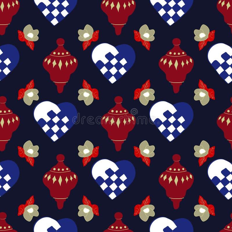 Corações, Decorações e Magnolias O Natal está chegando Coleção Sem Perícia Repetir Impressão de Vetor de Padrão ilustração do vetor