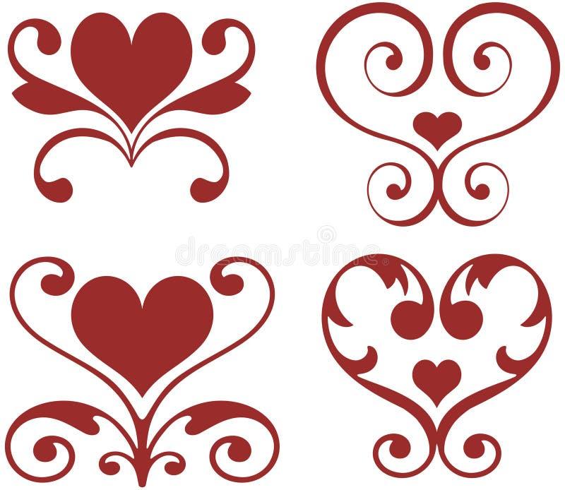 Corações decorativos ilustração royalty free