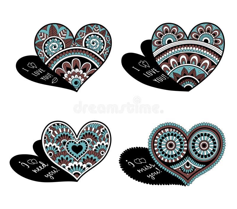 Corações decorativos do laço para o dia de Valentim Amor do coração da garatuja de Zentangle com os ornamento preto e branco ilustração stock
