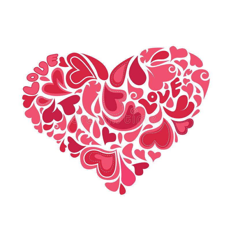 Corações dentro do vetor do coração ilustração royalty free