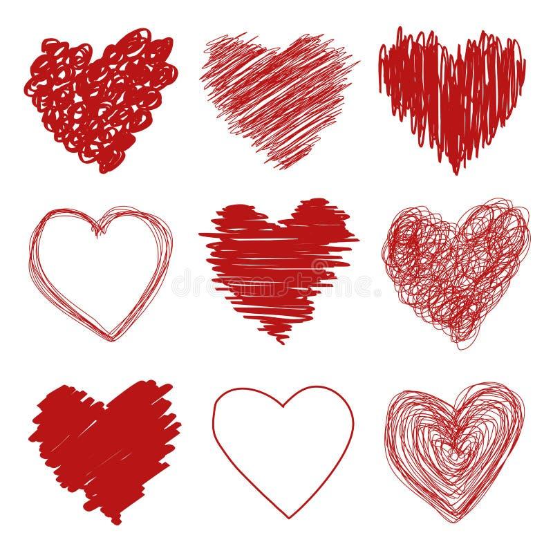 Corações desenhados mão ilustração royalty free