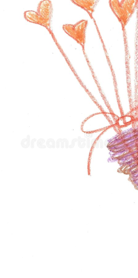 Corações Desenhados Mão Do Pastel No Vaso Imagens de Stock Royalty Free