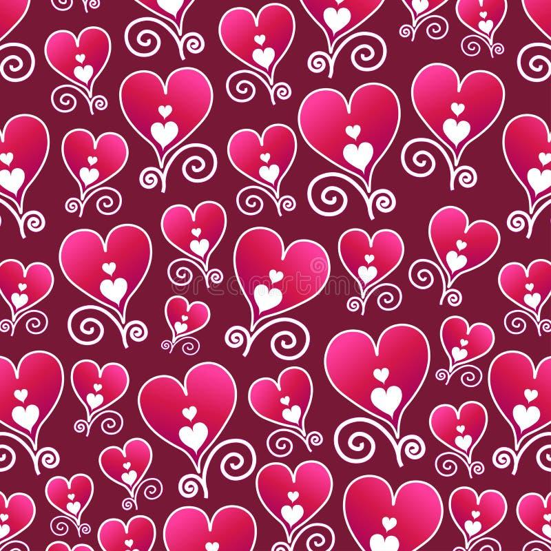 Corações desenhados por mão corações, sem soldadura, em fundo magenta ilustração royalty free