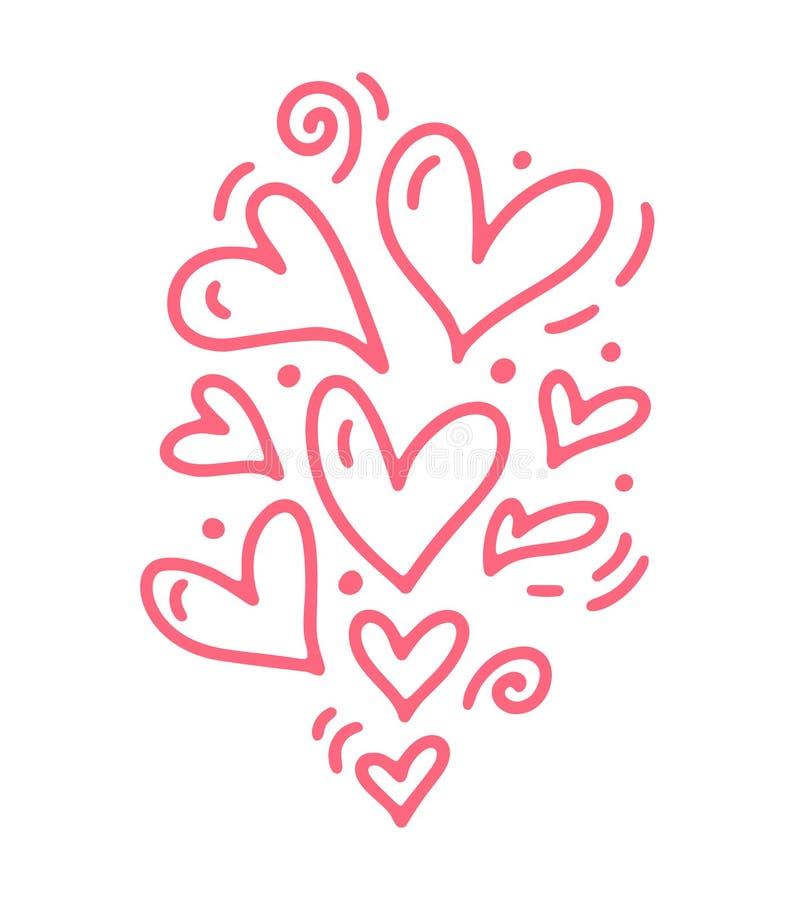 Corações diferentes cor-de-rosa bonitos do tamanho de Monoline Ícone tirado mão do dia de Valentim do vetor Elemento do projeto d ilustração stock