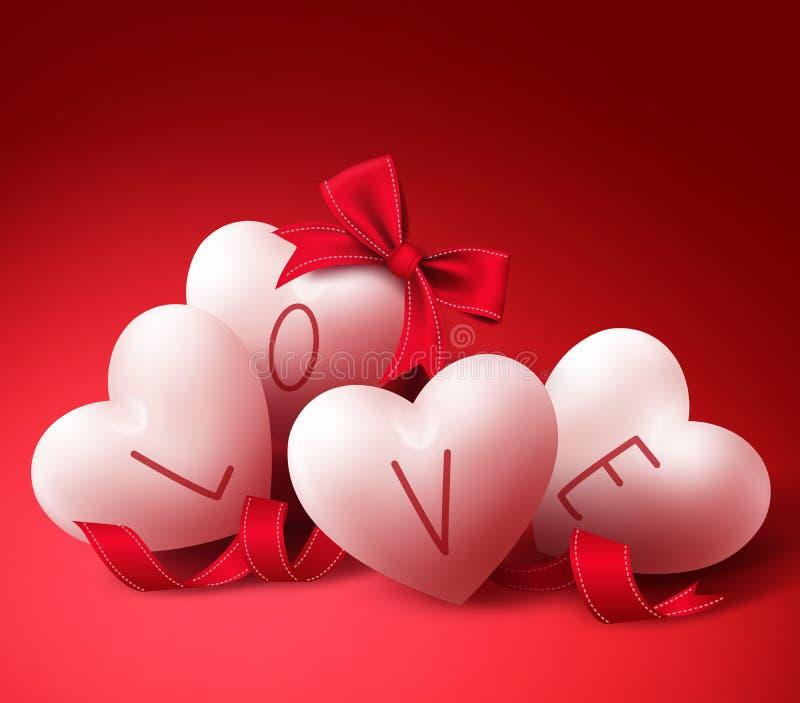 Corações do amor com fitas e curva para o cartão do dia de Valentim ilustração royalty free