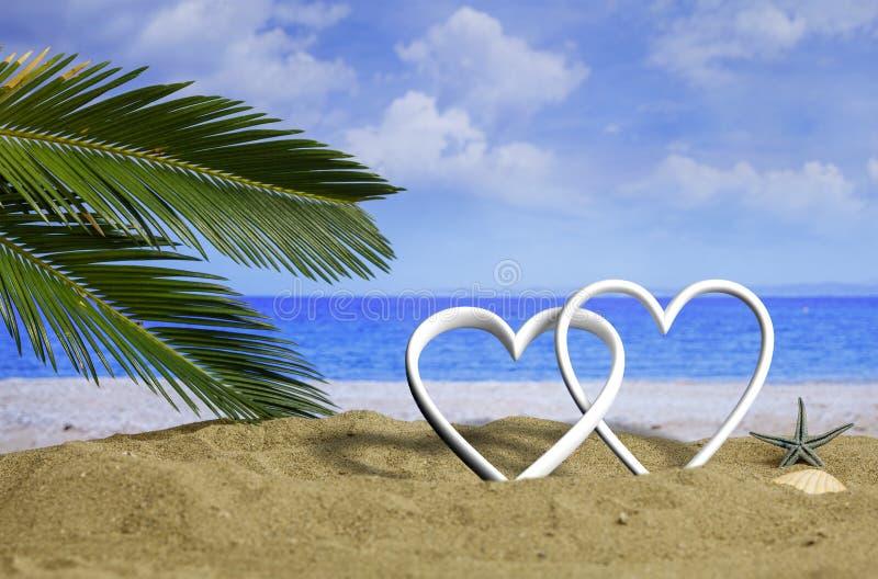 Corações do amor do verão em um Sandy Beach ilustração 3D ilustração do vetor