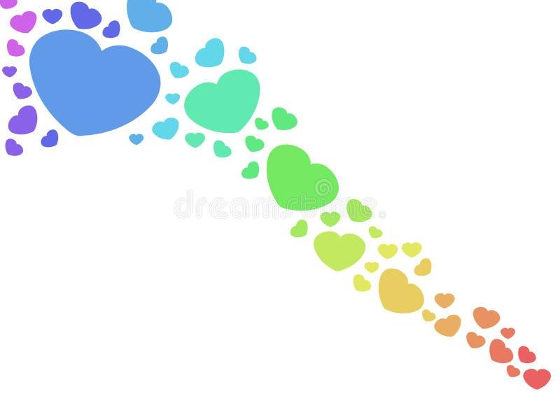 Corações do arco-íris ilustração do vetor