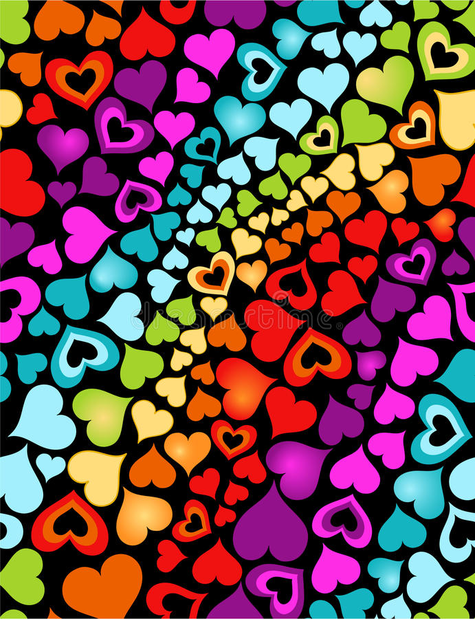 Corações do arco-íris ilustração royalty free