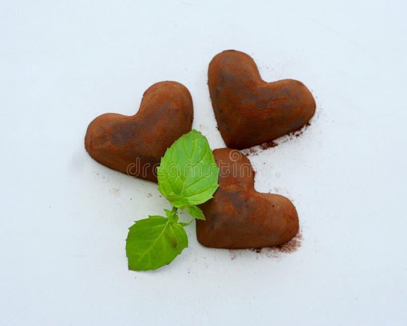 Corações do chocolate doce imagem de stock royalty free