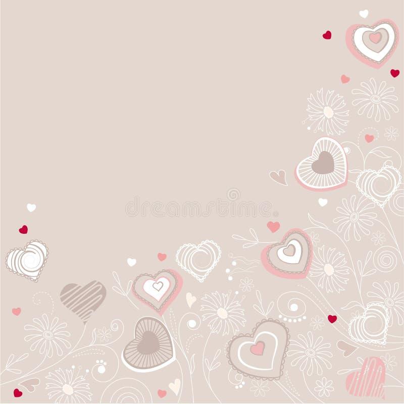 Corações do contorno no fundo pastel ilustração do vetor