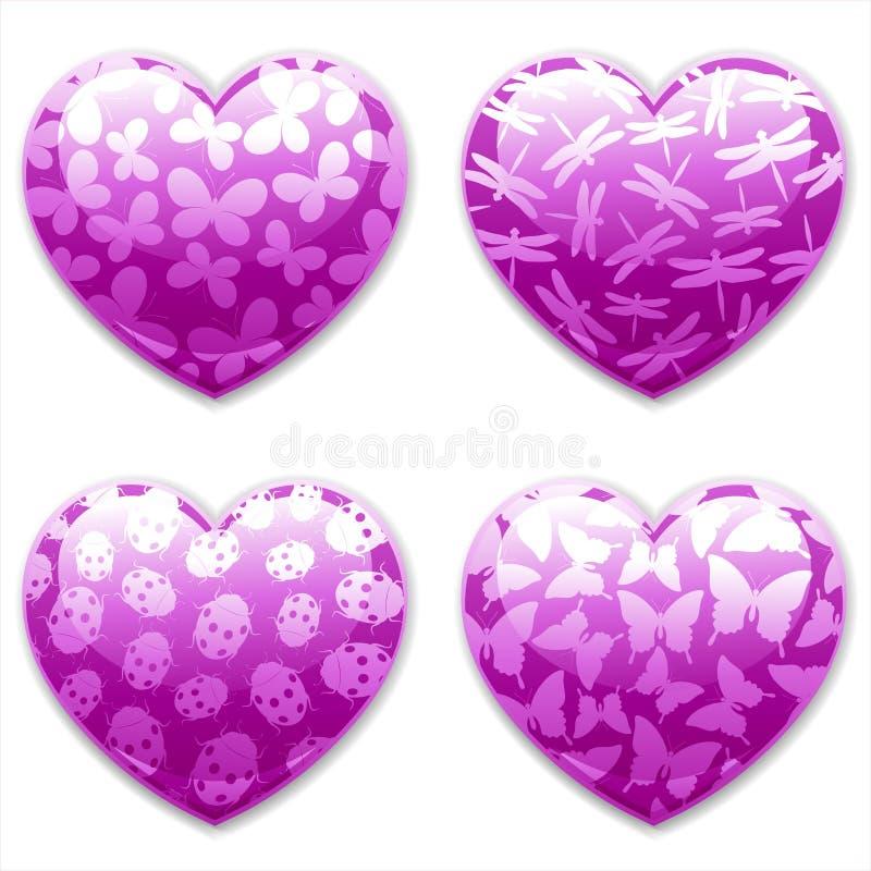 Corações do dia dos Valentim ajustados. Insetos. ilustração stock