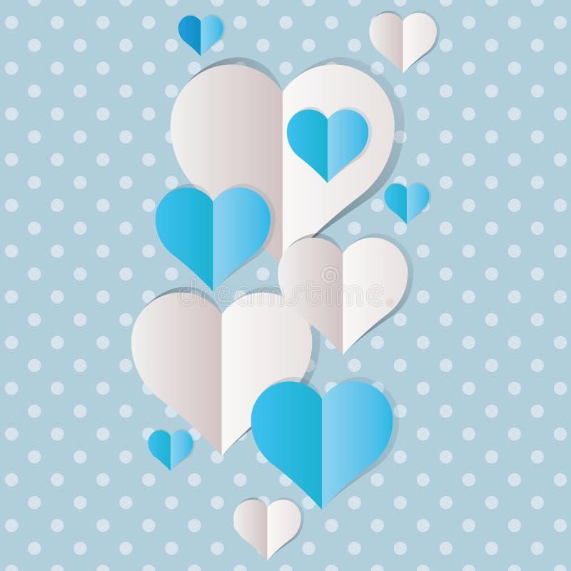 Corações do Livro azul e Branco ilustração do vetor