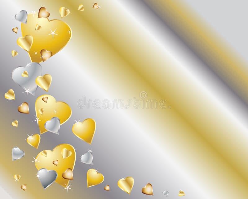 Corações do ouro e da prata ilustração royalty free
