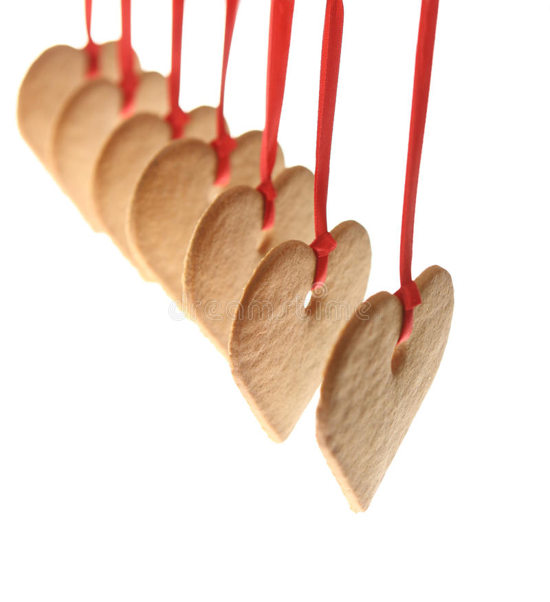 Corações do pão-de-espécie foto de stock